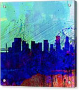 Portland Watercolor Skyline Acrylic Print