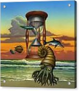 Prehistoric Animals - Beginning Of Time Beach Sunrise - Hourglass - Sea Creatures Square Format Acrylic Print
