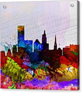 Providence Watercolor Skyline Acrylic Print