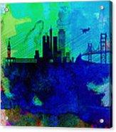 San Francisco Watercolor Skyline 2 Acrylic Print