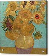 Vase With Twelve Sunflowers Acrylic Print