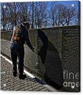 Vietnam Veteran Pays Respect To Fallen Soldiers At The Vietnam War Memorial Acrylic Print