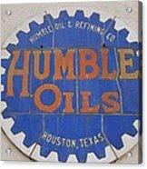 Vintage Humble Oils Sign Jefferson Texas Acrylic Print