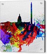 Washington Dc Watercolor Skyline 1 Acrylic Print by Naxart Studio