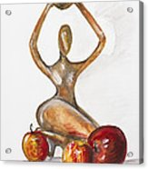 Woman In The African Style  With Red Apples Acrylic Print