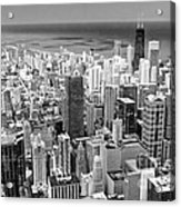 0036 Chicago Skyline Black And White Acrylic Print
