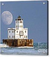 0186 Moon Over Milwaukee Breakwater Lighthouse Acrylic Print