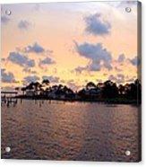 0530 Sunset Tree Silhouette Reflections Acrylic Print