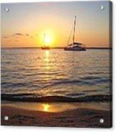 0531 Sailboats At Sunset On Sound Acrylic Print