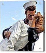 Closeup Nurse And Sailor Kissing Statue Unconditional Surrender Acrylic Print