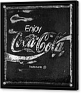 Coca Cola Sign Black And White Acrylic Print
