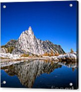 Prusik Peak Reflects In Gnome Tarn Acrylic Print
