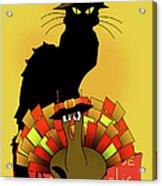 Thanksgiving Le Chat Noir With Turkey Pilgrim Acrylic Print