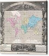 1852 Levasseur Map Of The World Acrylic Print