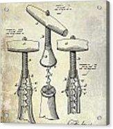 1883 Corkscrew Patent Drawing Acrylic Print