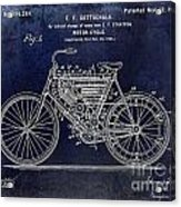 1901 Motorcycle Patent Drawing Blue Acrylic Print