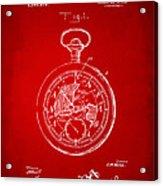 1916 Pocket Watch Patent Red Acrylic Print
