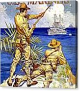 1917 - United States Marines Recruiting Poster - World War One - Color Acrylic Print