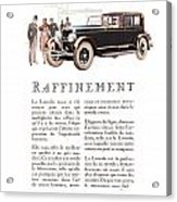 1926 Ad Lincoln Auto Automobile Acrylic Print
