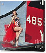 1940s Style Pin-up Girl Standing Acrylic Print by Christian Kieffer