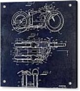 1950 Motorcycle Patent Drawing Blue Acrylic Print