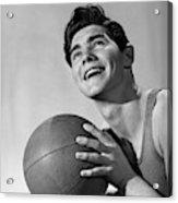 1950s Smiling Boy Holding Basketball Acrylic Print