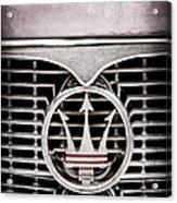 1958 Maserati Hood - Grille Emblem Acrylic Print