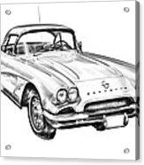 1962 Chevrolet Corvette Illustration Acrylic Print