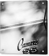 1969 Chevrolet Camaro Rs-ss Indy Pace Car Replica Side Emblem Acrylic Print