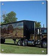 Smokey And The Bandit Tribute 1973 Kenworth W900 Black And Gold Semi Truck Acrylic Print