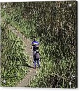 2 Photographers Walking Through Tall Grass Acrylic Print