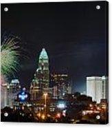 4th Of July Firework Over Charlotte Skyline Acrylic Print by Alex Grichenko