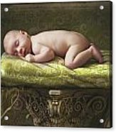 A Baby Asleep On A Pillar Acrylic Print