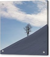 A Backcountry Skier Skins Up A Ridge Acrylic Print