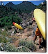 A Couple Carries Their Kayaks Acrylic Print