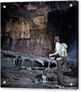 A Female Hiker With Tekking Poles Acrylic Print