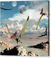 A Flock Of Thalassodromeus Pterosaurs Acrylic Print
