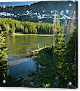 A Fly Fisherman Fishes A High Alpine Acrylic Print