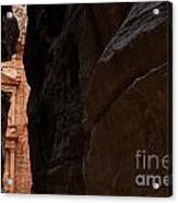 A Glimpse Of Al Khazneh From The Siq In Petra Jordan Acrylic Print