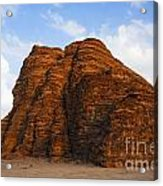A Landscape Of Rocky Outcrops In The Desert Of Wadi Rum In Jordan Acrylic Print