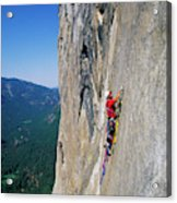 A Man Aid Climbing Acrylic Print