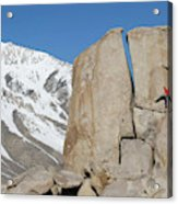 A Man Sport Climbs In Bishop Acrylic Print
