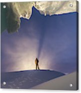 A Man Stands At The Entrance Of An Ice Acrylic Print