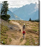 A Mother And Daughter Mountain Biking Acrylic Print