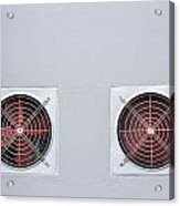 A Pair Of Red Industrial Ventilated Fan On Grey Wall As Backgrou Acrylic Print