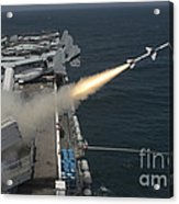 A Rim-7 Sea Sparrow Missile Is Launched Acrylic Print