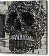 A Skull Sculpture Made Of Cans And Metal Along The Grand Canal Acrylic Print