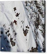 A Telemark Skier In A Narrow Chute Acrylic Print