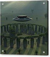 A Ufo & Its Alien Crew Visiting Acrylic Print