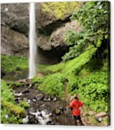 A Woman Admires Latourel Falls On June Acrylic Print